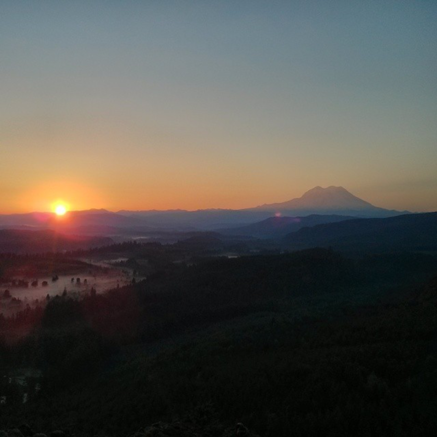 Sunrise View of Mt. Rainier from Fossil Rock